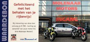 motor rijbewijs korting Arie molenaar motors